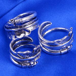 Feder Feather Ring Silber Verstellbar Damen Schmuck Damenringe 7/9/11