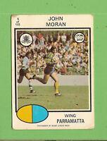 1975  PARRAMATTA EELS SCANLENS RUGBY LEAGUE CARD  #5  JOHN MORAN