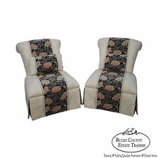 Henredon Schoonbeck Pair of White Tapestry Upholstered Lounge Chairs