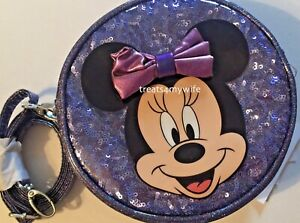 NWT Disney Park Minnie Mouse Potion Purple SEQUIN GLITTER Crossbody Bag LAST ONE