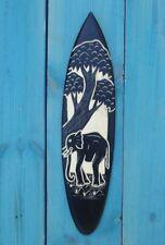 ELEPHANT WOOD CARVED TIKI BAR SURFBOARD DECOR SURF TROPICAL AFRICAN