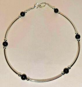 "Black Onyx & Sterling Silver Tube Style Bracelet 925 SS 6.5"", 7"", 7.5"" or 8"""