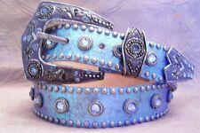 Metallic Blue Lt Sapphire Leatherock Western Belt Made with Swarovski Crystal S
