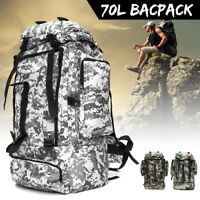 70L Outdoor Tactical Army Rucksack Camping Travel Hiking Backpack Bag  Sale