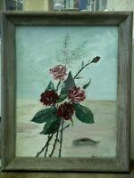 FRANCIS ZECCHINI(1888-1989), ROSES, OIL ON CANVAS, KENNEBUNKPORT, MAINE ARTIST
