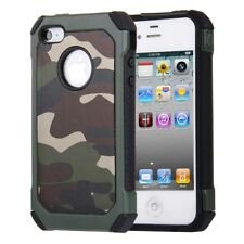 Apple iPhone 4 4S Outdoor Case TPU Hybrid Camouflage Anti Shock Hülle Cover Grün