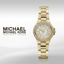 MK 3252 Camille White Dial Crystal-set Gold-tone Ladies Watch NWT.