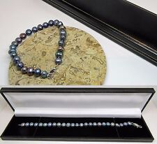 New black real freshwater pearl bracelet with lobster clasp in gift box
