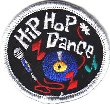 """""""HIP HOP DANCE"""" w/MUSIC NOTES & MICROPHONE - Iron On Embroidered Patch/Dance"""