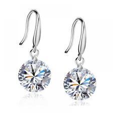 Dangle Gift Women Jewelry Silver Plated Silver Zircon Crystal Hook Earrings