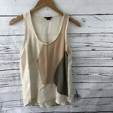 Theory Isaac M Womens Silk Color Block Tank Top Creme Small EUC