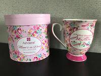 Brand New Gift Boxed Ashdene Fine Bone China Pretty Floral Mum's The Word Mug