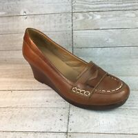 LL Bean Womens Penny Loafers Wedge Heel Shoes Brown Leather Brazil 6 M FREE SHIP
