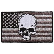 Distressed American USA Flag Skull 4 INCH Iron on sew on PATCH