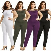Women Party Ladies Sexy sleeveless Jumpsuits splice Rompers dress Plus Size