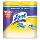 Lysol Dual Action Wipes Citrus Scent 2 Pk 75 Ct Each - Brand New Item