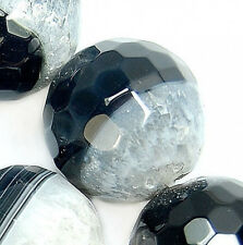18mm Faceted Natural Black Clear Druzy Agate Round Beads 11pcs
