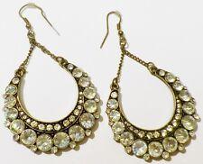boucles d'oreilles percées bijou vintage pendante cristaux diamant * 2177