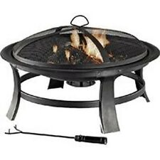 """New 2310316 Outdoor 30"""" Round Steel Fireplace Firepit With Screen, Grate Etc"""