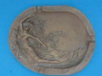 """ANTIQUE Art Nouveau SIGNED Sculptured Lady Bronze Ashtray ~ 7.5"""""""