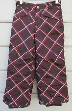 Cherokee Brown Pink Digital Plaid Insulated Snow Ski Board Pants Girls XS 4 5