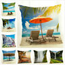 Summer Seaside Scenery Throw Pillow Covers Linen Couch Decorative Pillow Case