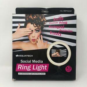 """Social Media Ring Light Phone Holder Tripod Stand 10"""" LED Desktop Light"""