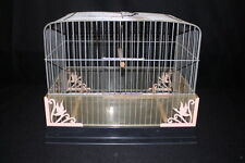 BECO Mid Century 1950's Black Pink Art Deco Bird Cage with Seed Dispenser (1)