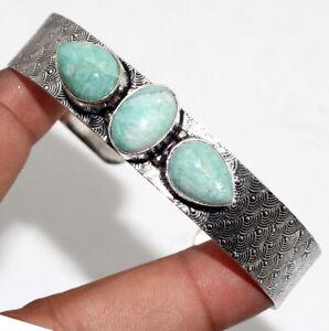 Amazonite 925 Silver Plated Adjustable Bangle Handmade Jewelry GW