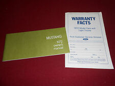 1972 FORD MUSTANG OWNER MANUAL plus 72 FORD WARRANTY FACTS BOOKLET