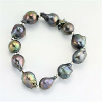 14-16mm Black Baroque Pearl Bracelet 7.5inch Flawless Aurora Classic Real Chain