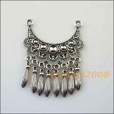 1 New Charms Tibetan Silver Moon Tassels Bail Beads Fit Bracelets 46x63mm