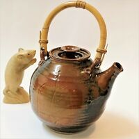 Yarra Glen Pottery Large Stoneware Teapot 1.5L (6-8 Cup) w Bamboo Swing Handle