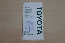 94865) Toyota Starlet MR 2 Celica Supra - Preise & Extras - Prospekt 06/1986