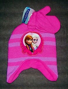 DISNEY FROZEN ANNA & ELSA Knit Fleece-Lined Trapper Winter Hat & Mittens Set $22