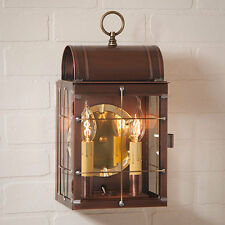 TOLL HOUSE new Antiqued Copper outdoor double wall sconce lantern light / nice