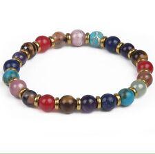 7 Chakra Bracelet. Genuine Natural Stone Stretch Bracelet. Spiritual Healing