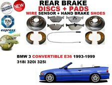 für BMW 3 E36 Cabrio Bremsscheiben SET HINTEN+BELÄGE SET +Sensor +Bremsschuhe