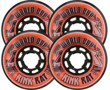 RINK RAT Wheels 72mm 82a WORLDCUP 4-Pack Orange/Black Inline Indoor Hockey