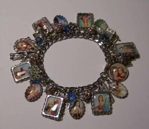 Jesus Mary Saints Catholic Religious Hand Crafted Charm Bracelet