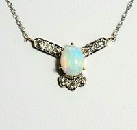Antique Opal Old European Cut Diamond 14k Gold Necklace on Modern 10k Gold Chain