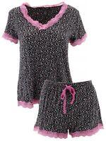 Rene Rofe Women's Black Pink Roses Short Pajamas