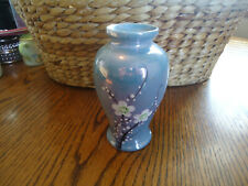 """Small Hand Painted Ceramic Vase Blue With White flowers 5"""""""