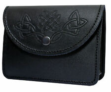 Black Kilt Belt Pouch With Celtic Embossed 100% real Leather sporran/pouch