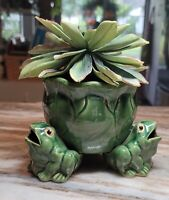 3 Happy Vntg/MCM Frog Stoneware Planter Stamped B-536 Xclnt Condition