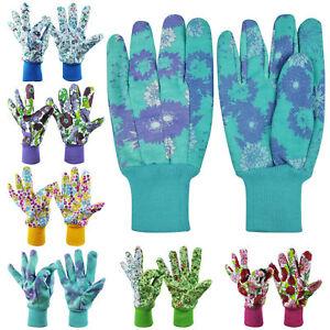 3 Pairs Womens Ladies Floral Garden Gloves Gardening General Working Gloves