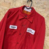 Vintage RED KAP Workwear Work Long Sleeve Shirt Red USA Size Large L