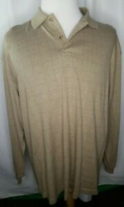 Roundtree Yorke Henley. Collar.Long Sleeves. Tan/Black Check.Sweater feel.EUC