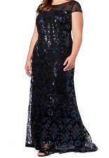 Calvin Klein Women's Dress Black Blue Size 20W Plus Sequin Lace Gown $269 #050