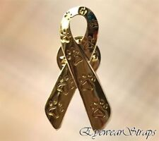 NEW Animal Cruelty Awareness Gold Paw Print Charity Ribbon Brooch Pin Cat Dog